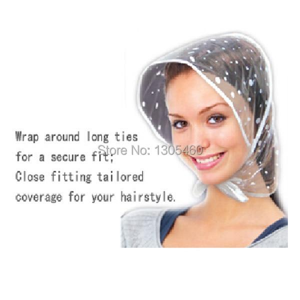 3 Pcs Reusable Women Plastic Rain Hat White Clear Dot Waterproof Fashion  rain bonnet Hats d5d1d74ead4