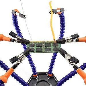 Image 5 - ידיים עוזרת הלחמה כלי 6 זרועות גמישות שש זרוע הלחמה תחנת עם מסתובב תנין קליפ עבור תיקון דוגמנות מלאכות