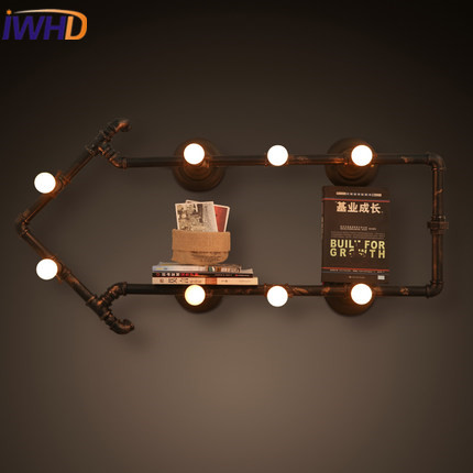 IWHD American Style Loft Industrial Vintage Wall Lamp LED Water Pipe Retro Wall Light Fixtures Iron Applique Luminaire Arandela water pipes light source set produced 75 industrial water wall lamp retro cafe loft american iron wall zzp