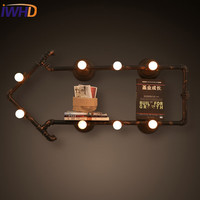 IWHD American Style Loft Industrial Vintage Wall Lamp LED Water Pipe Retro Wall Light Fixtures Iron Applique Luminaire Arandela