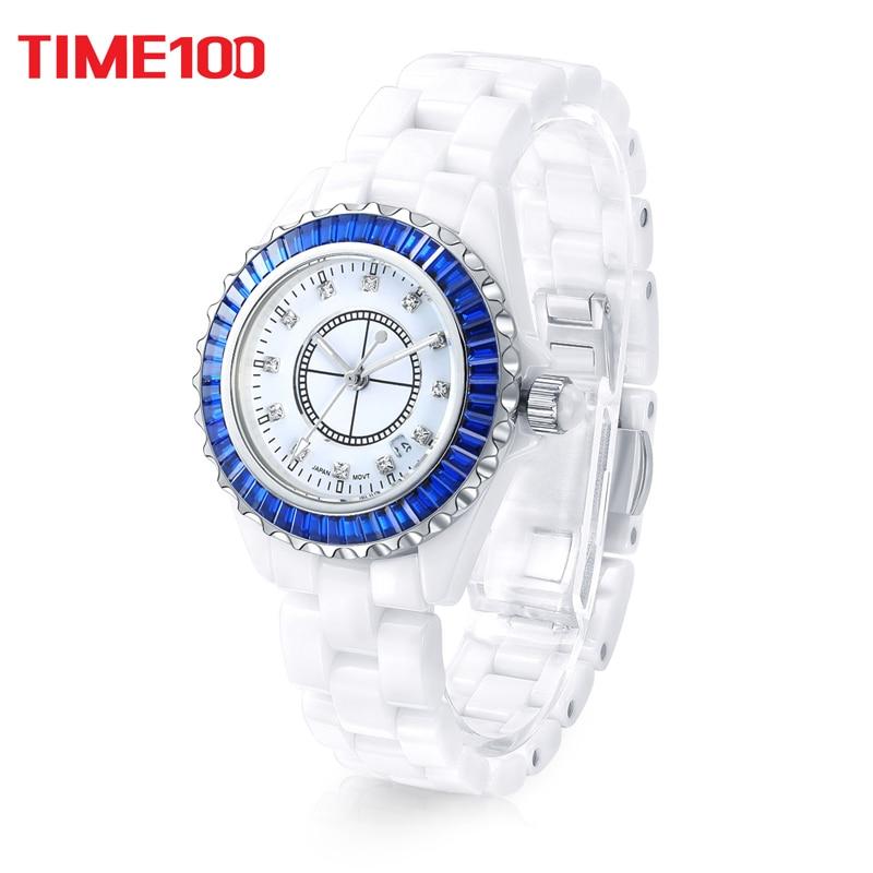 New Time100 Women Ceramic watches Luxurious Brand Fashion High-tech Precision Ceramic Strap Diamond Ladies Quartz Watch high tech and fashion electric product shell plastic mold