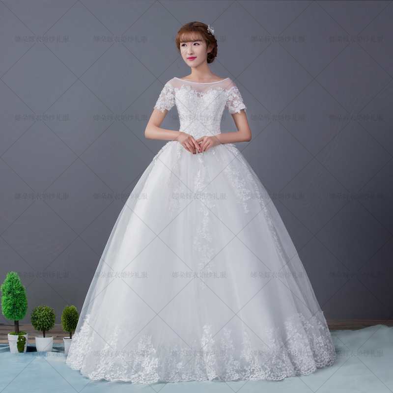 Sparkly White Wedding Dresses Scoop Beaded Modest Gowns Silky Organza Short Sleeve Lace Up Best Bridal In From Weddings