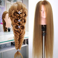 New training head with blonde hair Doll Head professional hairdressing head mannequin without makeup face gold hair manican head