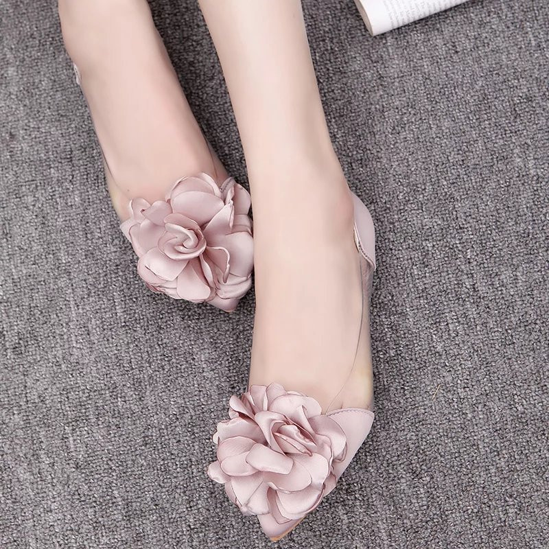 EOEODOIT Summer Autumn Flats Shoes Big Camellia Flower Sweet Lady Transparent Flat Heel Shoes Sandals Slip On Basic Loafers(China)