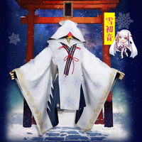 Vocaloid Snow MIKU Yuki Witch Kagura ver. Kimono Halloween Carnival Cosplay Costume Fashion