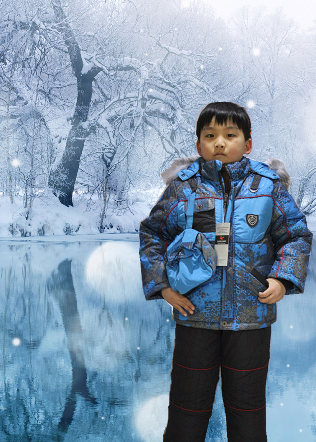 -30 Degre Boys Ski Suit Super Thick Removable Faux Wool Lining Real Fur Winter Jacket Children Clothing Sets For Russian Winter 2017 children wool fur coat winter warm natural 100% wool long stlye solid suit collar clothing for boys girls full jacket t021