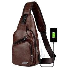 ba111c63e8 Hommes USB Poitrine Sac Croix-Frontière Pour Personnalisé PU Épaule Sac  Hommes De Charge Sac Diagonale Paquet Messenger Sac Poit.