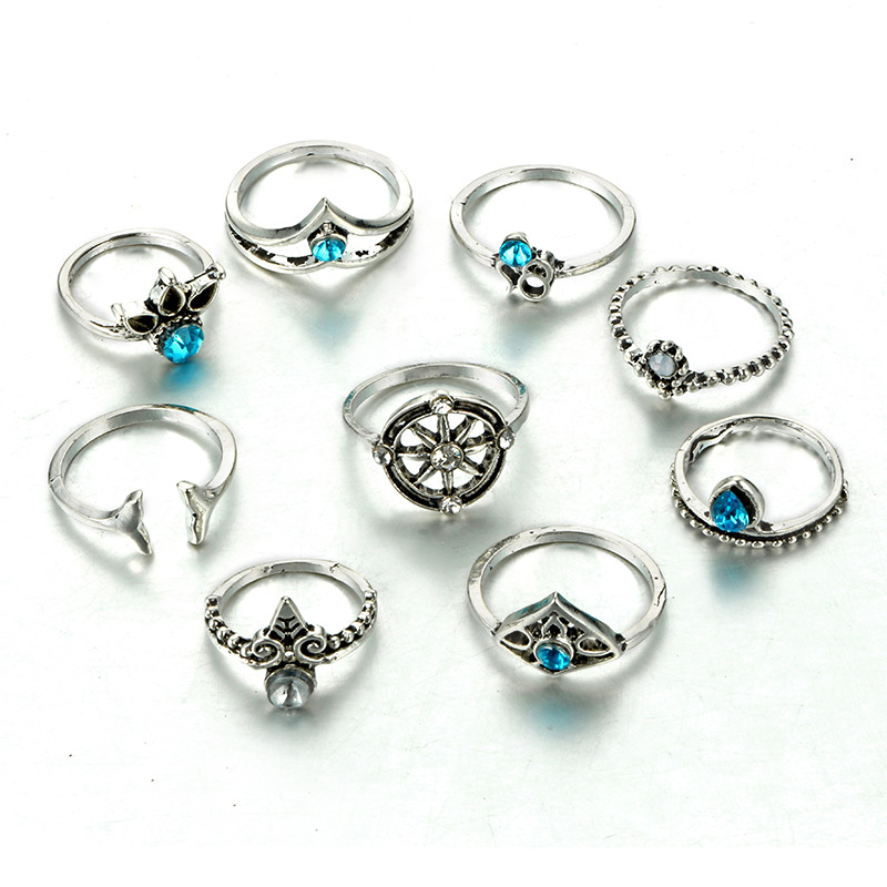 HuaTang Bohemian Antique Silver Ring Geometric Elephant Flower Green Rhinestone Knuckle Rings Midi Finger Anel Rings Jewelry 48