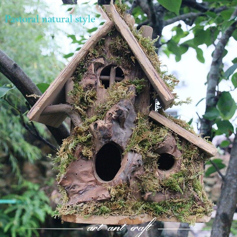AHUAPET Cage à oiseaux naturelle pour animal de compagnie nid d'oiseau Cage décoration Cage à oiseaux antiseptique fait à la main en bois oiseau maison nid décoration