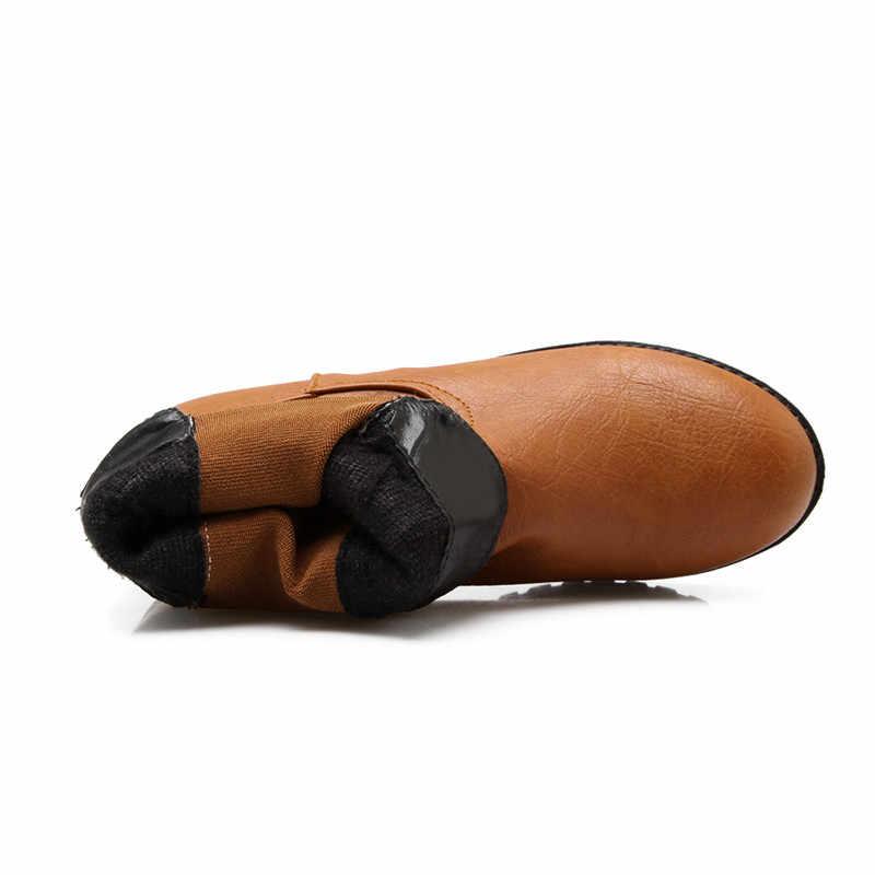 MoonMeek büyük boy 34-43 moda yarım çizmeler yuvarlak ayak kayma düşük topuklu bayan botları basit sonbahar kış çizmeler kadınlar 2020 yeni