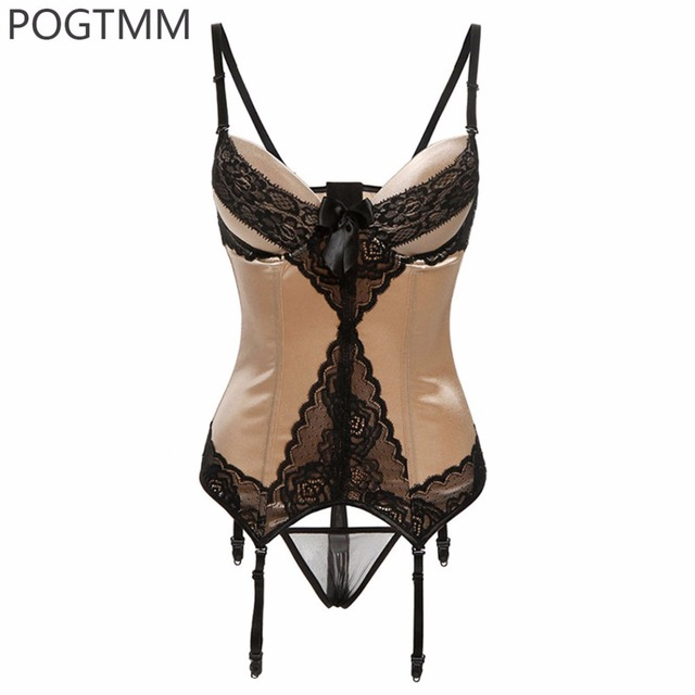 Lady Sexy Shaped Corset  Floral Lace Waist Cincher Trainer Bustier Girdle With Garter Belt XXL