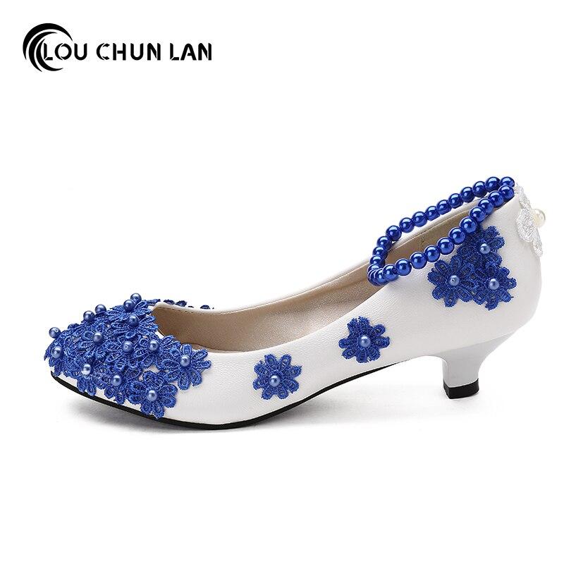Frauen Pumps Blau mode Schuhe Handgemachten frauen Hochzeit