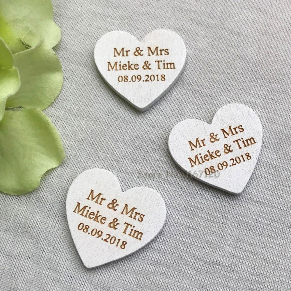 50/200pcs Personalized Engraved Wedding Name Date Wooden Love Heart ...