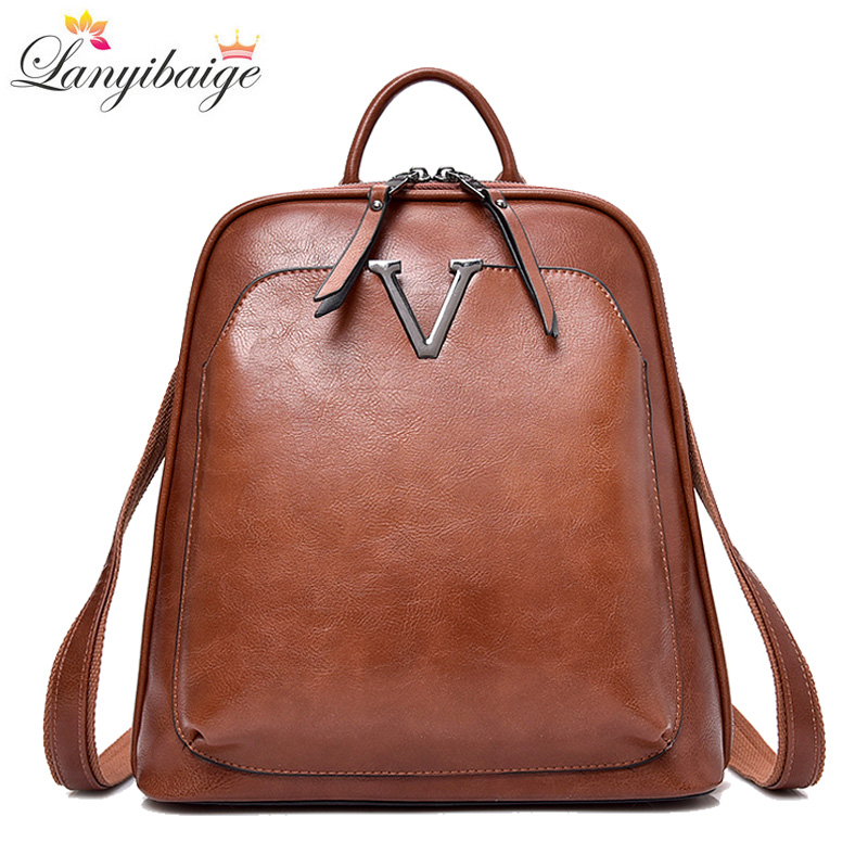 New Vintage Women Backpack High Quality Leather Brand Female