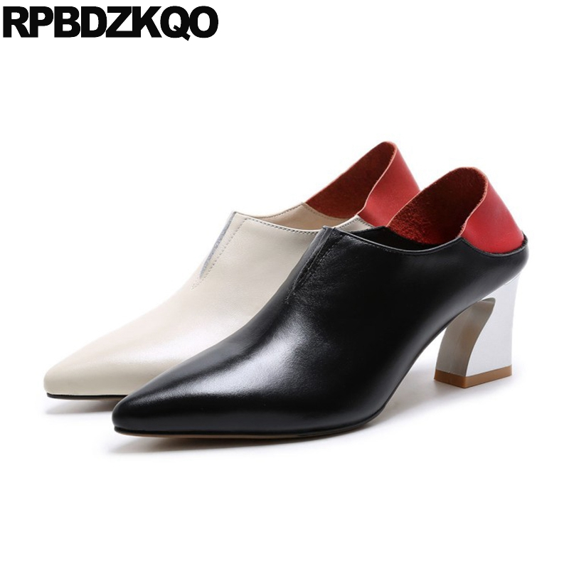 Pumps Catwalk High Heels Shoes Designer Ladies Beige Ankle Boots Mules Slipper Genuine Leather Pointed Toe Metal Block Autumn abnormal ankle strap folk multi colored catwalk colourful sandal round toe chunky peep pumps pom high quality designer shoe heel