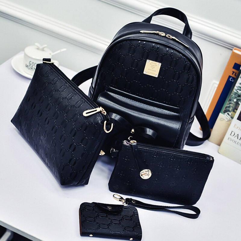 4pcs Women Bag Size Preppy Style Boys Girls Leather Backpacks Casual Travel Shoulder Bag Wrist Bag