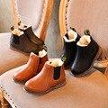 Manera Libre del envío Martin Bebé Botas de Los Niños Zapatos de Invierno 2016 Del Niño Del Bebé Zapatos de Suela De Goma Botas Cortas de Cuero Retro