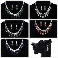 Inlove 5 Colors New Design Waterdrop AAA Zircon Luxurious Sparkling Jewelry Set Cubic Zirconia Choker Necklaces