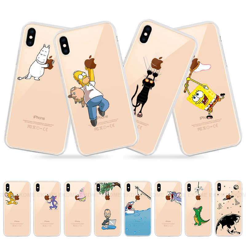 Cartoon Funny Dinosaur Case For IPhone X 7 8 XR XS Max Animals For IPhone 6 6s Plus 5 5s SE Cases Soft TPU Back Cover