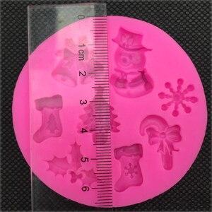 Image 5 - Pupazzo di Neve di natale a Forma di silicone del fondente della muffa della cucina di cottura cioccolato pasticceria della caramella di Argilla rendendo cupcake strumenti di decorazione FT 0130