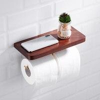 Brass durable toilet paper holder Creative Wood mobile phone rack Nordic Nanmu bathroom roll holder antirust wall hanging