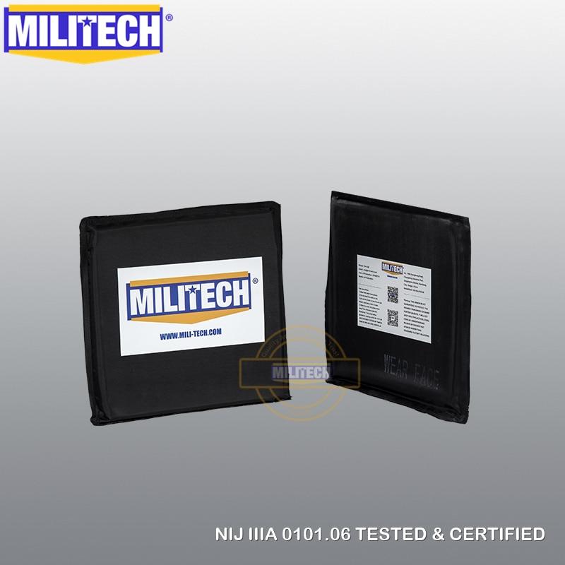 "MILITECH Ballistic Panel BulletProof Plate NIJ Level 3A & NIJ 0101.07 Level HG2 6"" x 6"" Pair Aramid Soft Side Insert Body Armor"