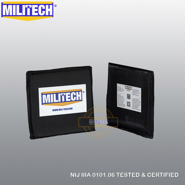"MILITECH Ballistic Panel BulletProof Plate NIJ Level 3A & NIJ 0101.07 Level HG2 6"" x 6"" Pair Aramid Soft Side Insert Body Armor"