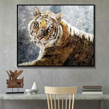Laeacco Modern Tiger Wall Artworkwork Animal Posters and Prints Canvas Painting Salon Kitchen Living Room Decor Home Decoration