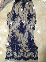 3D Lace applique fabric, royal blue Nigerian Lace Fabric with sequins For Wedding dress