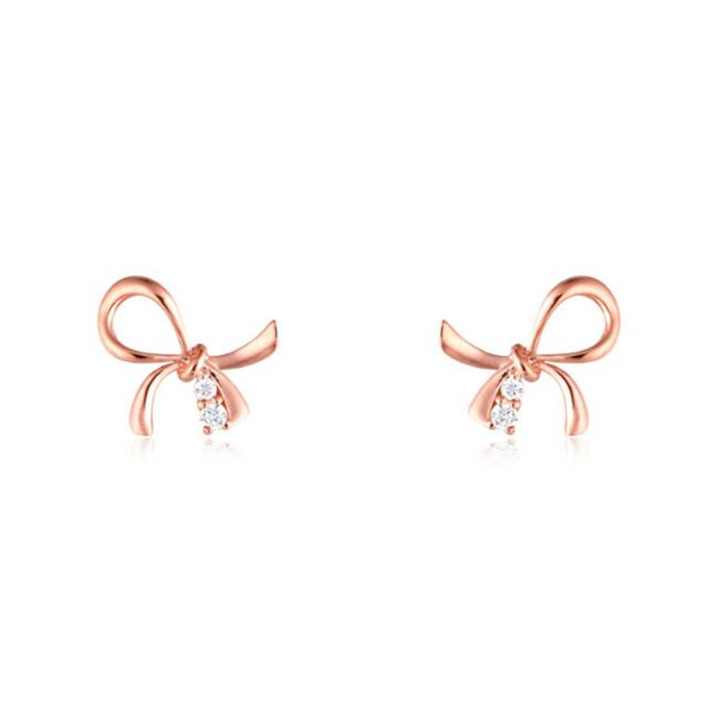 2018 New Fashion Vintage Western Simple Rose Gold Butterfly Bow Earrings For Women 18K Gold Jewelry Valentine Gift 0.80g yoursfs dangle earrings with long chain austria crystal jewelry gift 18k rose gold plated