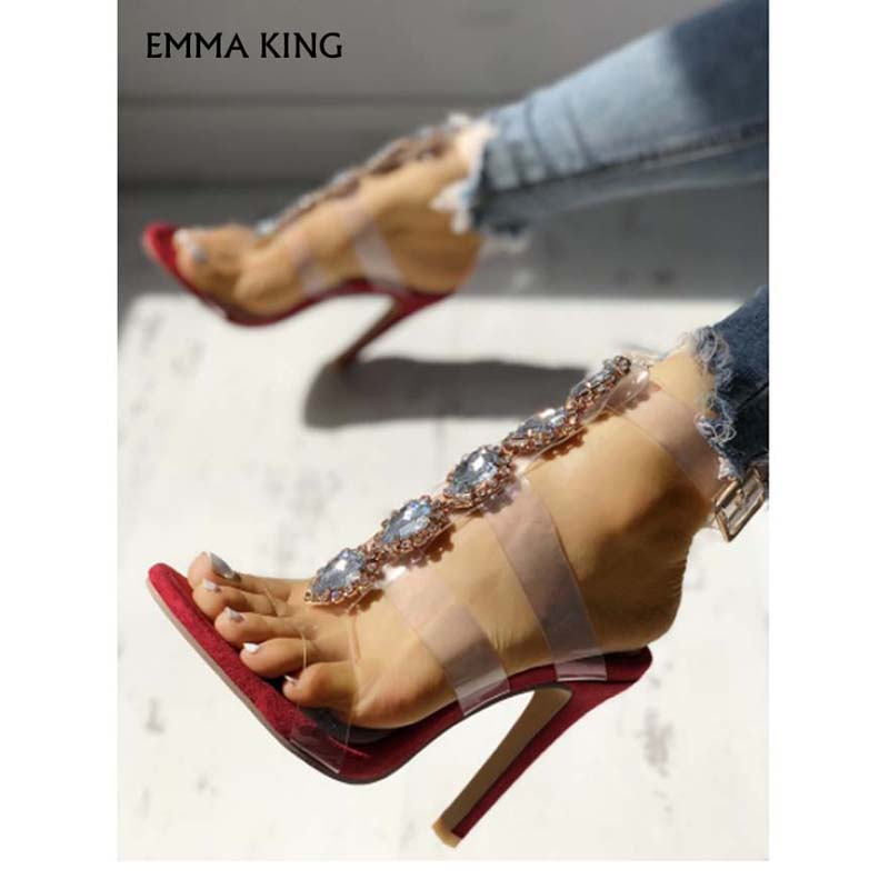 Sandalias de tacón con adornos brillantes con correa transparente a la moda para mujer zapatos de lujo para mujer - 2