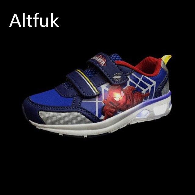 7bcc658ac3e Altfuk 28 ~ 34 Peuter Jongens Kinderen Schoenen Krasovki Lichtgevende  Sneakers Spiderman Kids Light Up Schoenen