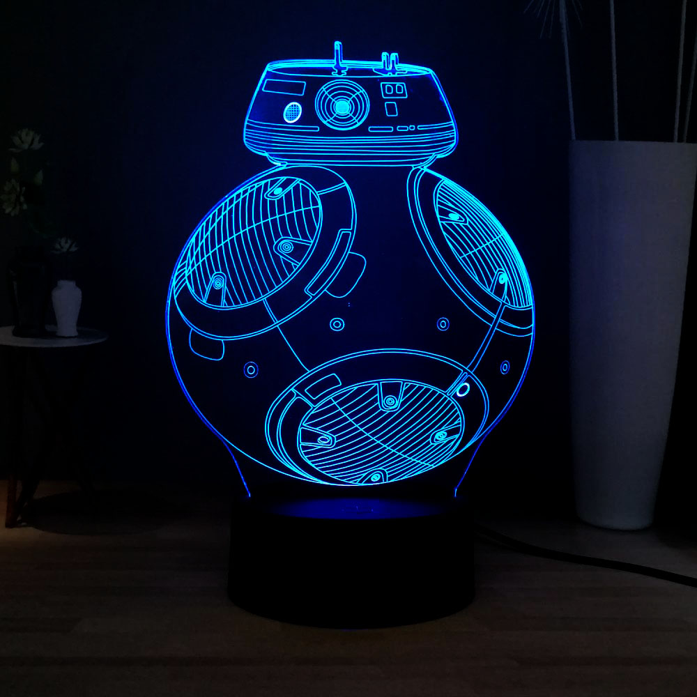 Hot Movie Star Wars Series Props 3D Space BB8 Discoloration 7Color Change Novel Decoration Atmosphere Table Light Kids Toy Gift image
