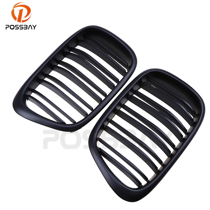 POSSBAY Matte Black Car Center Front Grilles Double Line Grills Decoration Fit for BMW 5-Series E39 Sedan 1995 1996 1997-2003POSSBAY Matte Black Car Center Front Grilles Double Line Grills Decoration Fit for BMW 5-Series E39 Sedan 1995 1996 1997-2003