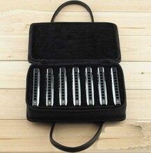 Hohe Qualität Professinal 10 loch blues harmonica gig weichtasche-kasten harfe cover instrument paket (kann last 7 harmonicas)