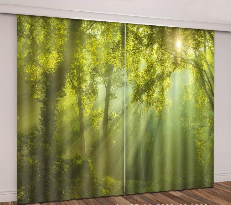 Custom Any Size 3D Curtains Sun Fog Landscape For Any Room HD Effect 3D Stereoscopic Blackout 90% Curtains
