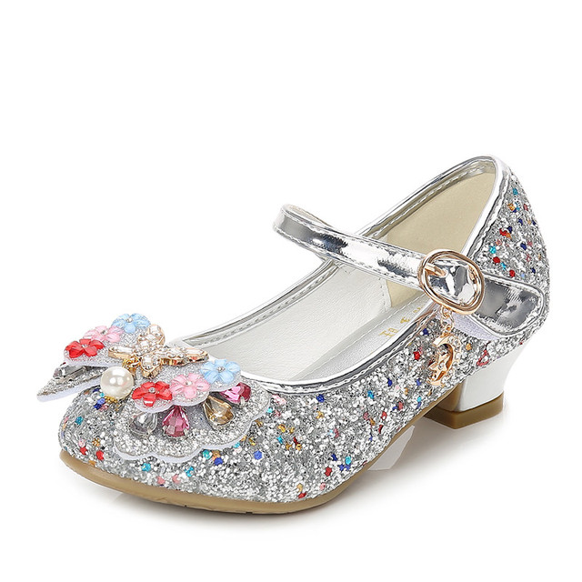 77a3cbdd940a ULKNN Glitter Children Girls High heel Shoes For Kids Princess Sandals  Bowtie Knot infant Baby Girls