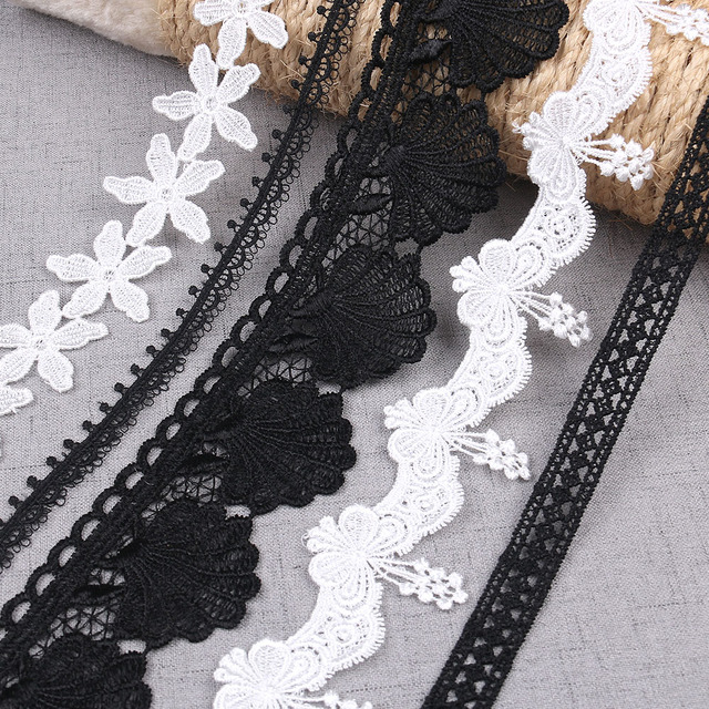 NEW 2yards/lot White Black Embroidered Lace Trim Ribbon For Sewing Crafts  Sew On Clothing