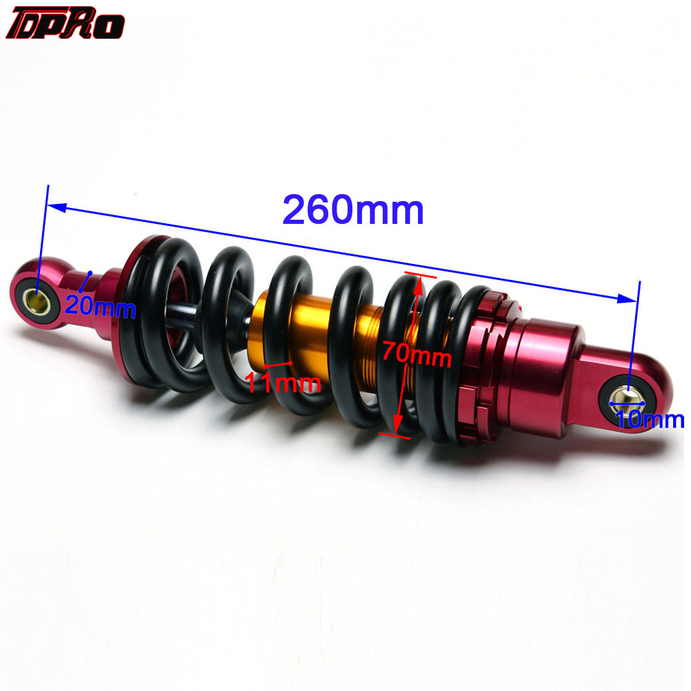 "1 Pcs 260mm 10/"" Motorcycle ATV UTV Scooter Shock Absorber Rear Suspension Red"