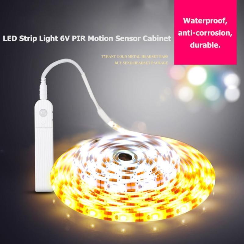 1m 2m 3m 60/120/180 LED Strip Light 6V PIR Motion Sensor SMD2835 Lamp Room Kitchen Cabinet Under Bed Lamp Tape String Lights