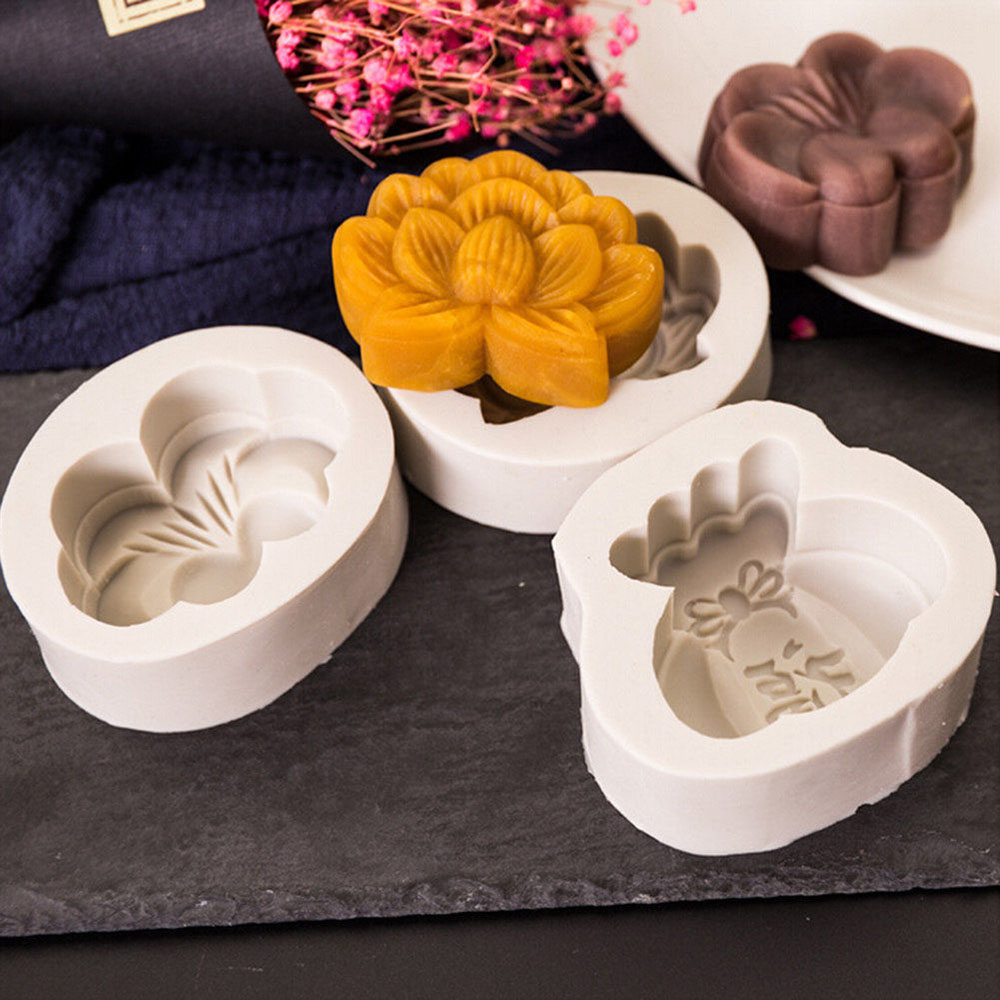 4 Style Cartoon Rabbit Butterfly Lucky Bag Lotus Shape Baking Tools Silicone Blessing Moon Cake Mold Kitchen Diy Mould
