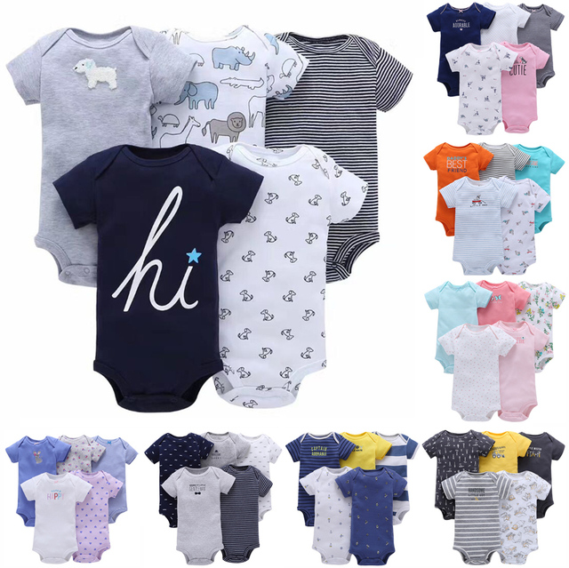 8139f4e2957f7 Baby Girl and Boy Clothing Set Short Sleeve Bodysuit 5 pcs pack set Summer  soft cotton Cotton Flower-in Clothing Sets from Mother & Kids on ...
