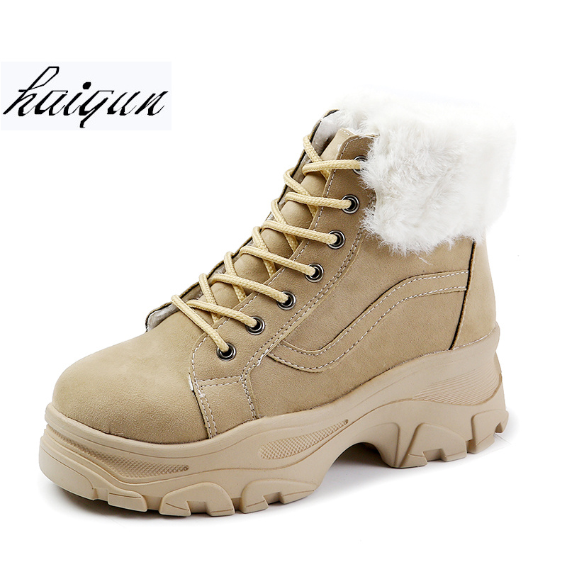 2018 New Women Casual Shoes Winter Platform Wedge Ankle Boots Height Increasing Flock Shoes Keep Warm Fur Snow Boots Sneakers цена