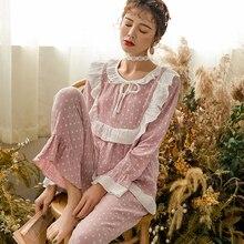 Весенне-осенние тонкие двойные газовые хлопковые пижамы для беременных, пижамы с длинными рукавами для кормящих, кормящих грудью, ночное белье