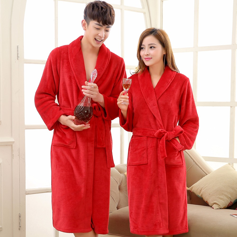Coral Fleece Flannel Long Robe Main Red