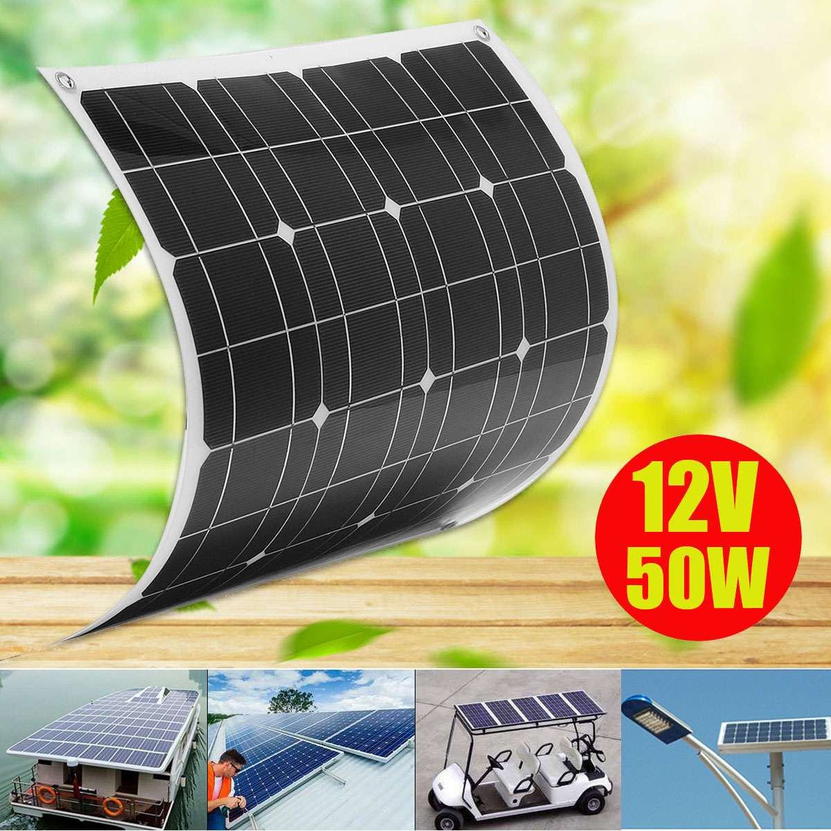 KINCO 12V/50W Semi-Flexible Solar Panel Monocrystalline Silicon Solar System Power Supply For Car Battery Charger