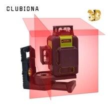 Clubiona 3D 12RC 12 линий лазерный уровень с литиевой батареей и горизонтальными и вертикальными линиями работают отдельно красные Лазерные лучевые линии