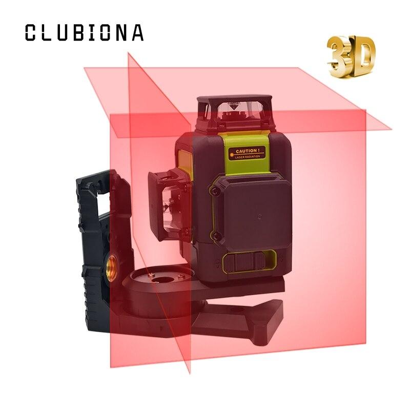 Clubiona 3D 12RC 12 líneas de nivel láser con la batería de litio y las líneas horizontales y verticales trabajar por separado rayo láser rojo las líneas