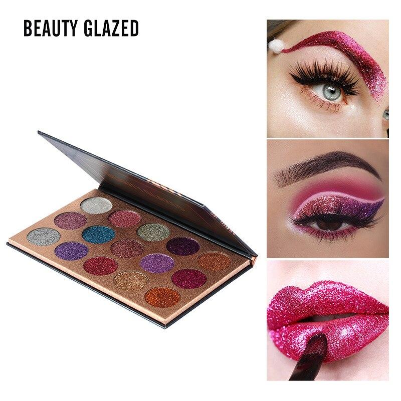 Красоты глазированные 15 полный Цвет Матовая Алмазный блеск для век Палитры Макияж палитру теней Professional Тени для век косметика