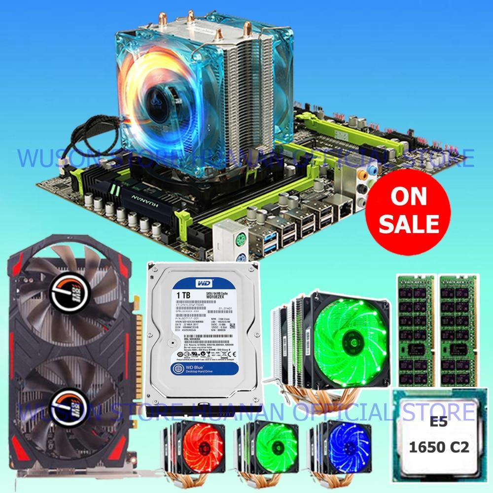 Hot HUANAN X79 motherboard CPU Xeon E5 1650 SROKZ 6 heatpipes cooler RAM 16G(2*8G) DDR3 RECC 1TB SATA HDD GTX750Ti 2G video card цена